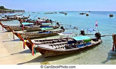 thailand, phi phi islands, traditional boats - phi phi...