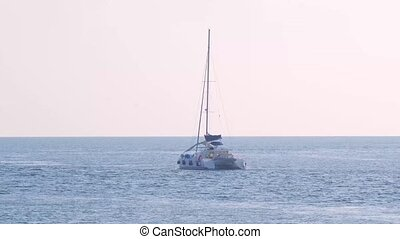 Thailand. Phuket. Ya Nui Beach. Yacht at sea.