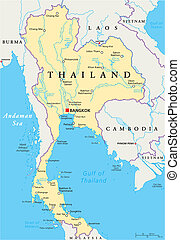 Thailand Political Map with capital Bangkok, national borders, most important cities, rivers and lakes. English labeling and scaling. Illustration.