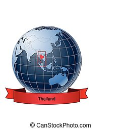 Thailand, position on the globe Vector version with separate layers for globe, grid, land, borders, state, frame; fully editable