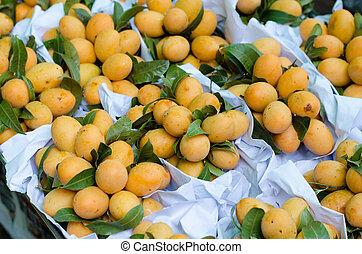 thailand, pruim, markt, alhier, mango