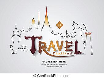 thailand, reise, vektor, design