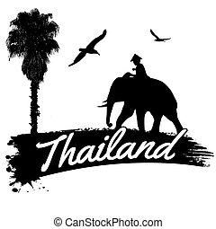 thailand, retro, affisch