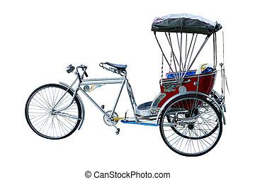 Thailand rickshaw three - wheeler on white background.