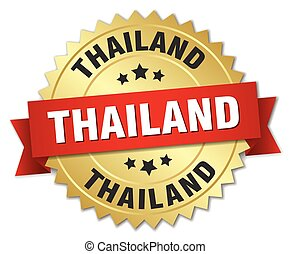 Thailand round golden badge with red ribbon