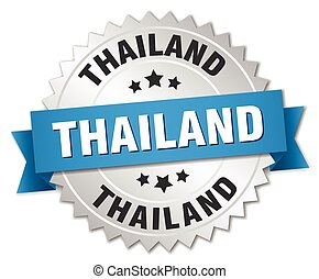 Thailand round silver badge with blue ribbon
