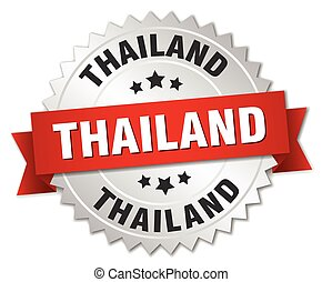 Thailand round silver badge with red ribbon