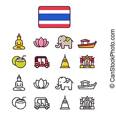 thailand, satz, heiligenbilder