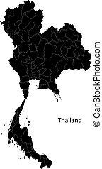 thailand, schwarz, landkarte