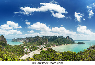 Thailand sea landscape. Nature background with travel boat, sand, blue sky and clear ocean water