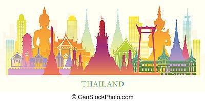 Thailand Skyline Landmarks Colorful Silhouette Background