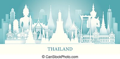 Thailand Skyline Landmarks in Paper Cutting Style