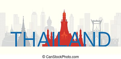 Thailand Skyline Landmarks with Text or Word