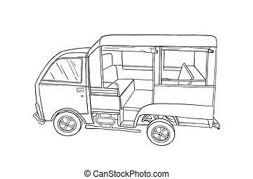 Thailand songthaew bus vehicle. Engraved songthaew or tuk-tuk taxi isolated in white background. Vector illustration