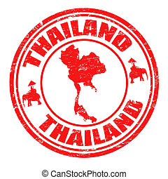 Grunge rubber stamp with map of Thailand and the name Thailand written inside the stamp