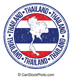 Thailand stamp - Grunge rubber stamp with Thailand flag, map...