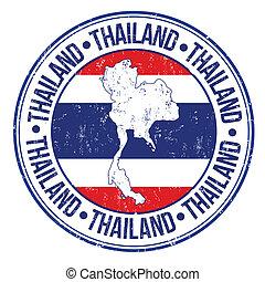 Thailand stamp - Grunge rubber stamp with Thailand flag, map...