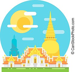 Thailand temple flat design landmark