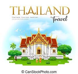 Thailand temple, Wat Benchamabophit, bangkok, Thailand ...