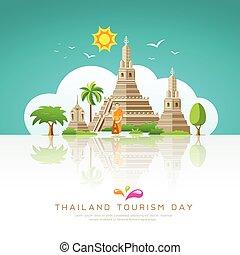 Thailand tourist landmarks background