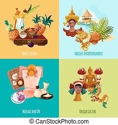 Thailand touristic design concept set with exotic cuisine massage spa culture and entertainment cartoon icons isolated vector illustration