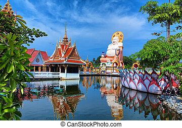 Thailand travel background. Buddha temple pagoda and...