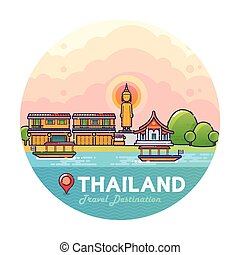 Thailand Travel Destination Concept - Vector Illustration of...