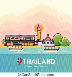 Thailand Travel Destination Concept - Vector Illustration of...
