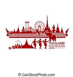 Thailand travel destination grand vector illustration.