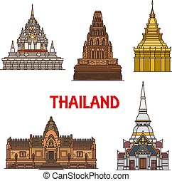 Thailand travel landmarks and temples