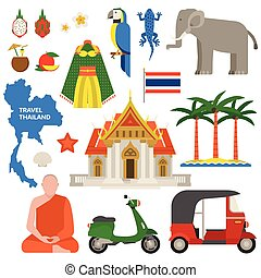 Thailand travel vector illustration.