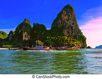 Thailand tropical nature beautiful landscape. Sea cost touristic background
