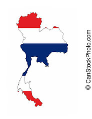thailand vlag, kaart