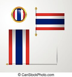 Thailand waving Flag design with badge vector
