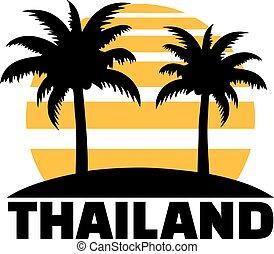 Thailand with sun palms and beach