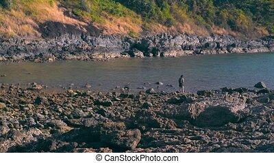 Thailand. Ya Nui Beach. Rocks and sea.