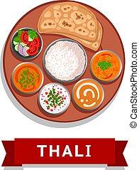 Thali. Indian national dish. Vector flat illustration