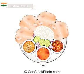 Thali or Indian Steamed Rice, Flatbread and Lentil Soup