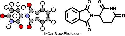Thalidomide teratogenic drug molecule. Stylized 2D...