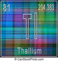 Thallium chemical element, Sign with atomic number and atomic weight, Periodic Table Element