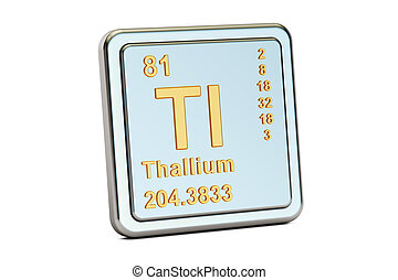 Thallium Tl, chemical element sign. 3D rendering