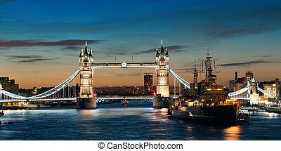 Thames River London - HMS Belfast warship and Tower Bridge...