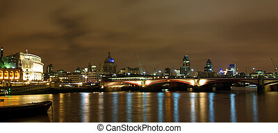thames, synhåll, london, natt