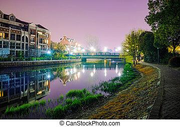 Thames Town at night