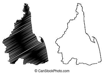 thammarat, provincia, mapa, nakhon, si, vector