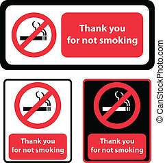 """""""Than you for not smoking"""" signs"""