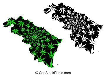 Thanh Hoa Province (Socialist Republic of Vietnam, Subdivisions of Vietnam) map is designed cannabis leaf green and black, Tinh Thanh Hoa map made of marijuana (marihuana, THC) foliage