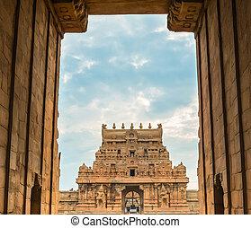 thanjavour, puerta, grande, mundo, nadu, hindú, sitio., india, brihadeeswarar, salida, arquitectura, herencia, unesco, tamil, templo