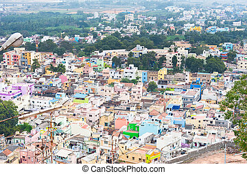 Cityscape of crowded Indian city - Thanjavur (Trichy) city. ...