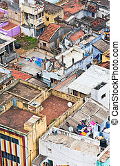 Thanjavur (Trichy) city. Cityscape of crowded Indian city...